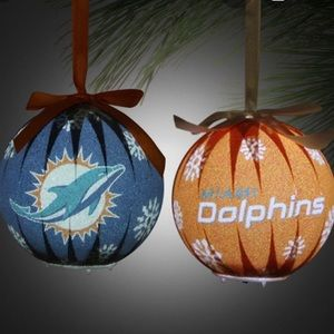 ❤️New! Set of 6 NFL Miami Dolphins Led Ornaments